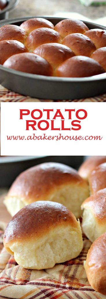 two photos of homemade potato rolls- a dozen in the pan plus a close up of a single roll