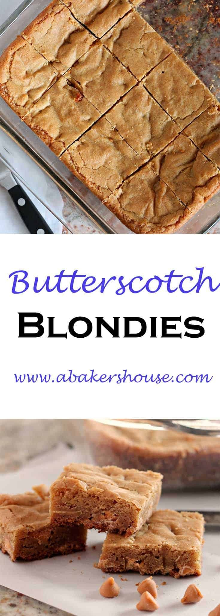 Butterscotch Blondies, a recipe from Cooking Light made by #abakershouse #butterscotch #brownies #blondies