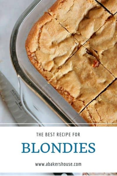 Pinterest image with text for Butterscotch blondies recipe