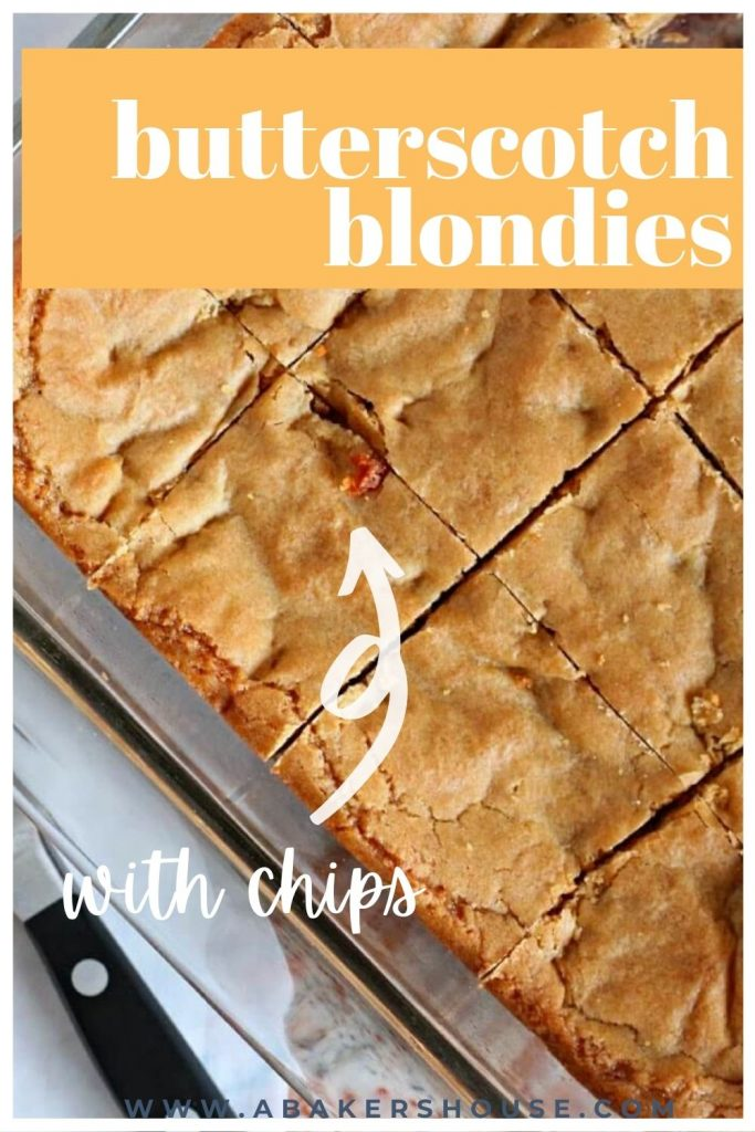 pan filled with sliced butterscotch blondies