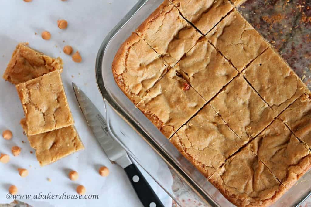 Butterscotch Blondies made in a 9 by 13 pan cut into squares