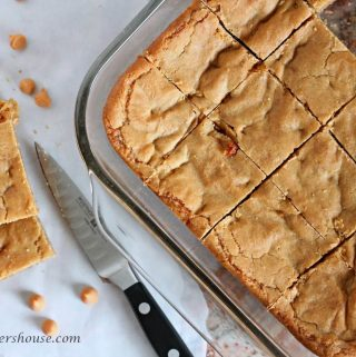 Butterscotch Blondies made in a 9 by 13 pan