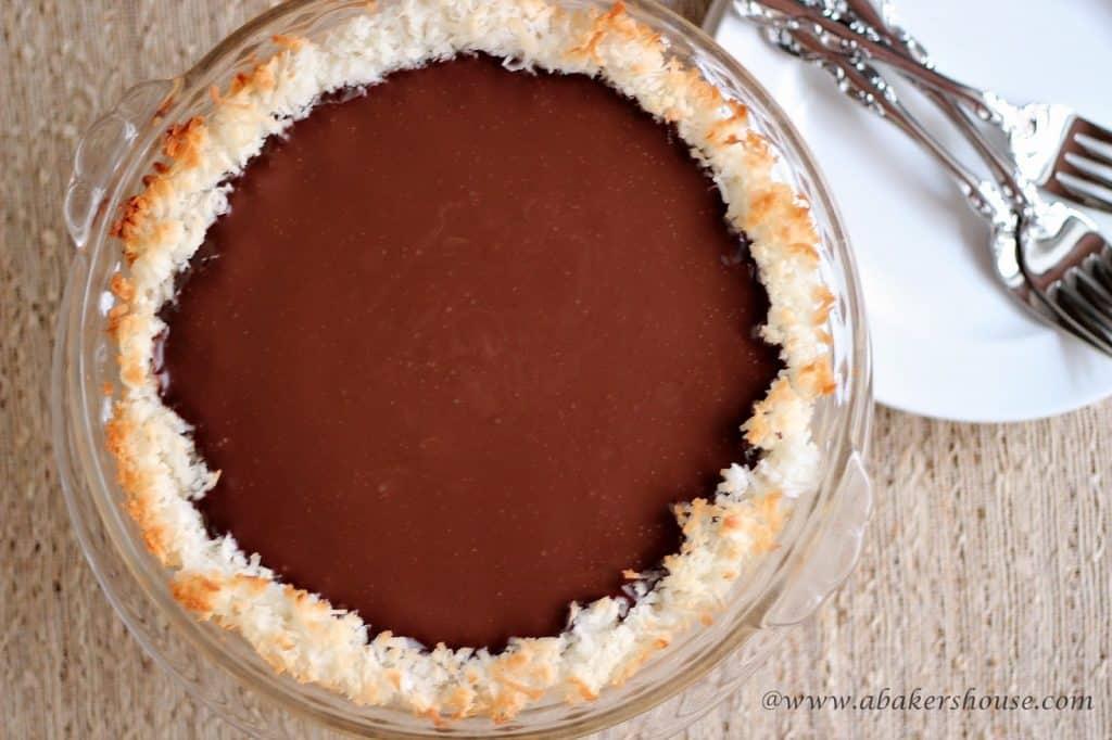 overhead photo of coconut chocolate pie