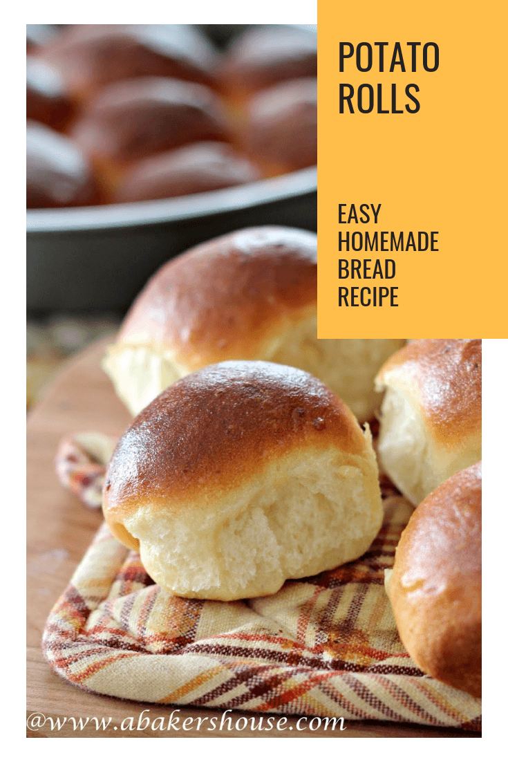 Homemade mashed potato rolls start with left over mashed potatoes but end up as the star of your meal with this easy recipe from Food Network. Made by Holly Baker at www.abakershouse.com #mashedpotatoes #homemaderolls #homemadebread #abakershouse