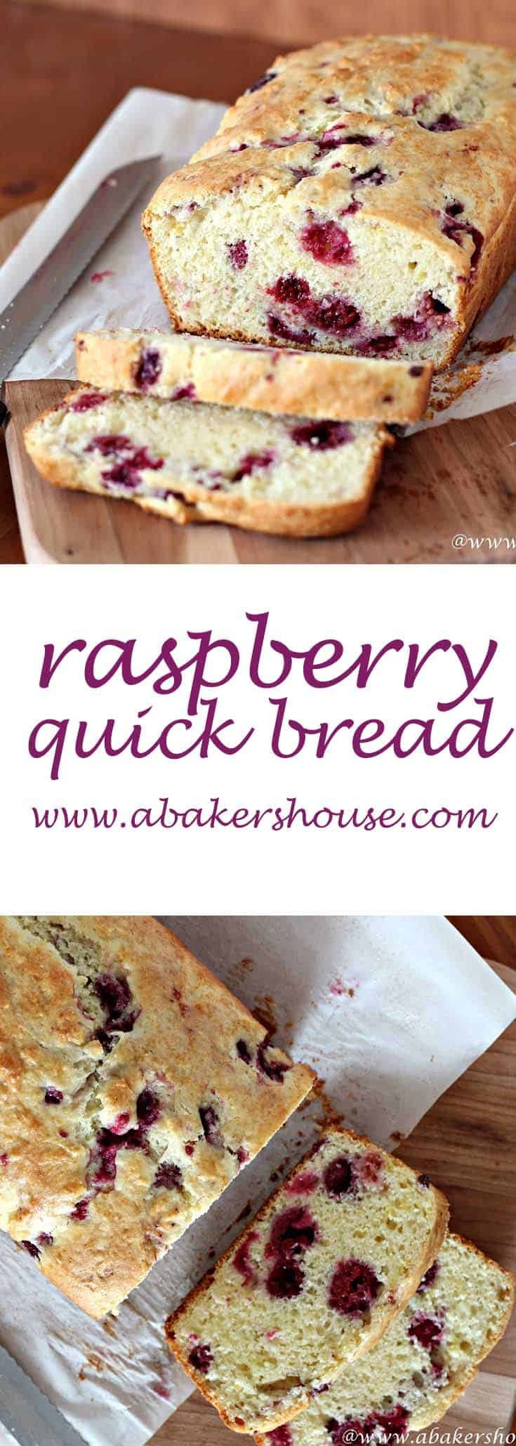 This raspberry quick bread that comes together in about an hour and can be ready for your afternoon cup of tea. I used raspberries (frozen, in fact), but blueberries, cranberries or cherries would all work. Fresh or frozen, berries in this bread add a sweetness and color that make this a recipe to keep handy. #abakershouse #raspberries #frozenberries #freshberries #breadrecipe