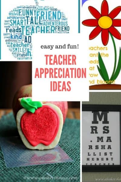 Four ideas for Teacher Appreciation day in collage with text overlay