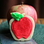 Decorated apple cookie with gift tag label for your teacher