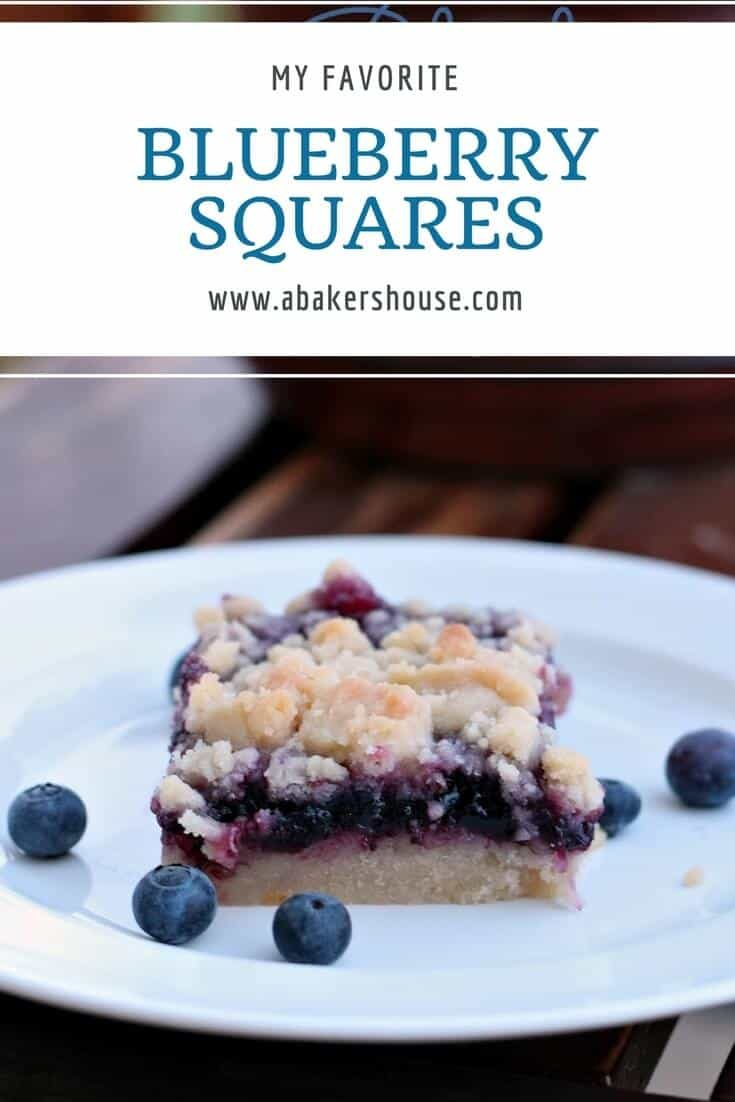 Blueberry Lemon Bars use high quality jam and lemon curd to top a shortbread crust. Adapted from a Barefoot Contessa recipe. #abakershouse #blueberry #dessertrecipe #lemoncurd