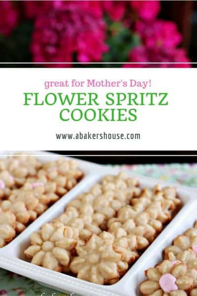 Platter of flower cookies with a text title overlay