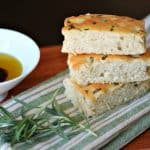Stack of three pieces of focaccia