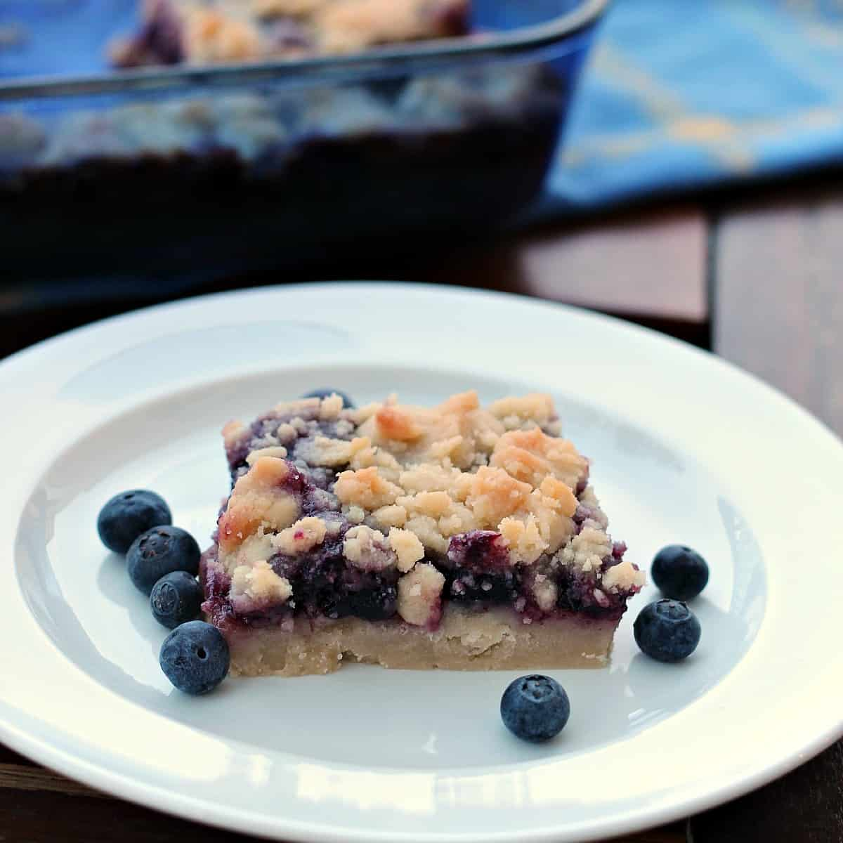 One blueberry square on a white plate