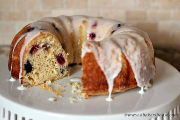 lemon berry bundt cake with white icing