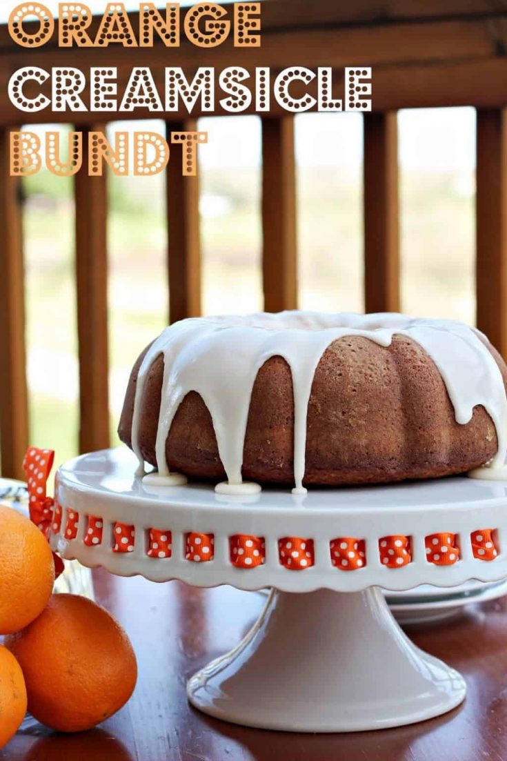 Take the flavors of a favorite summer dessert-- orange creamsicle-- and turn it into this Bundt Cake. #abakershouse #bundt #cakerecipe #orange #creamcheese #glaze