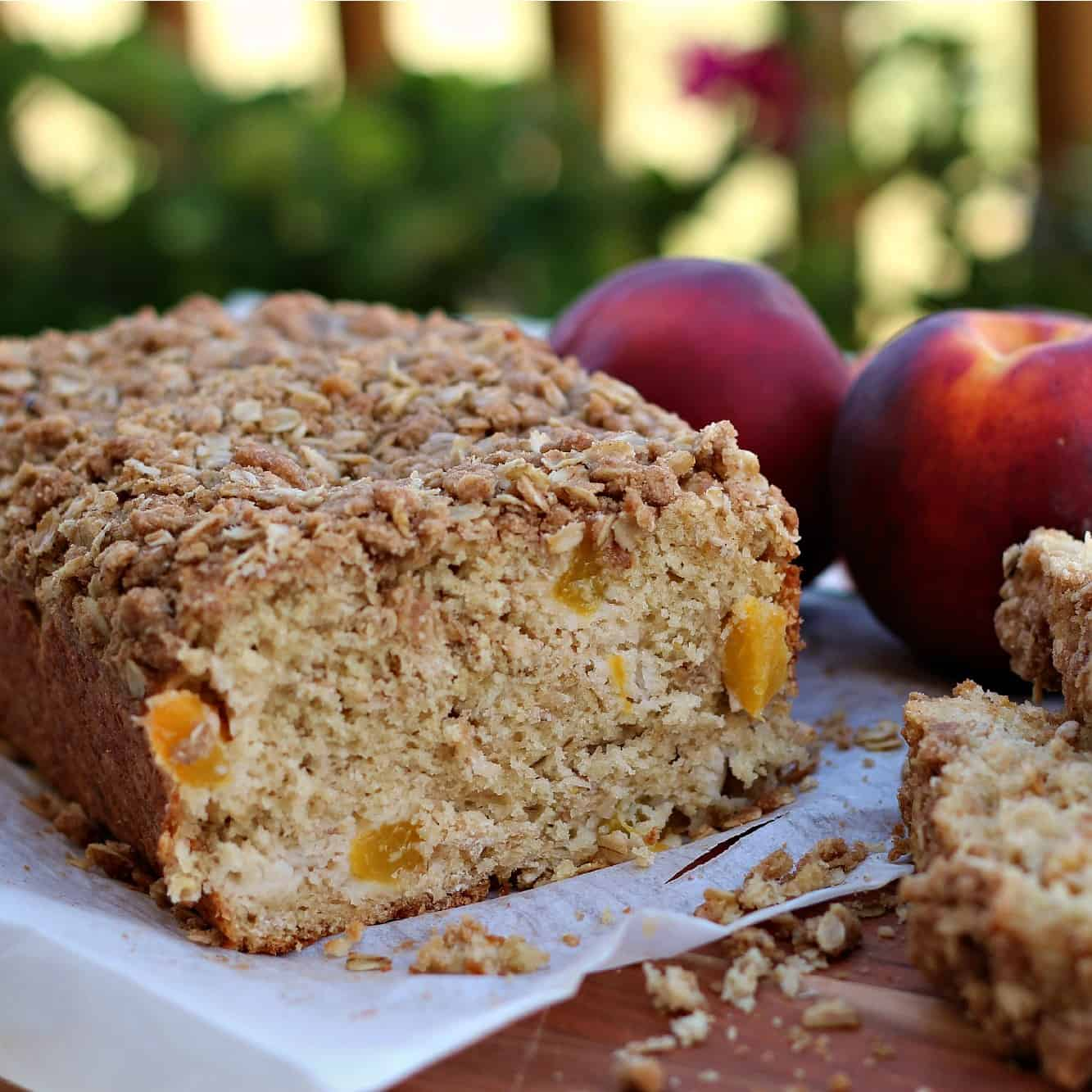 Peach Oat quick bread with streusel topping
