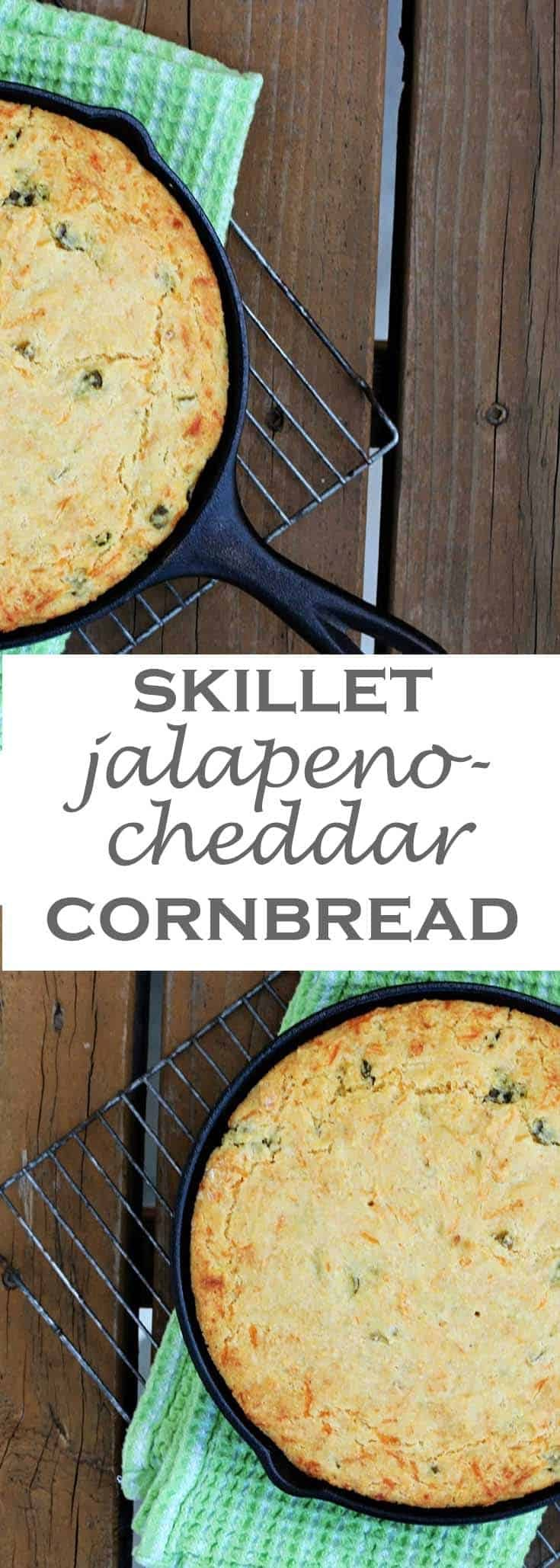 This skillet jalapeno cheddar cornbread gives a spicy, yet balanced, bite to go along with a chili or soup. Or take it along as a side dish to your next pot luck gathering. #abakershouse #cornbread #ironskillet