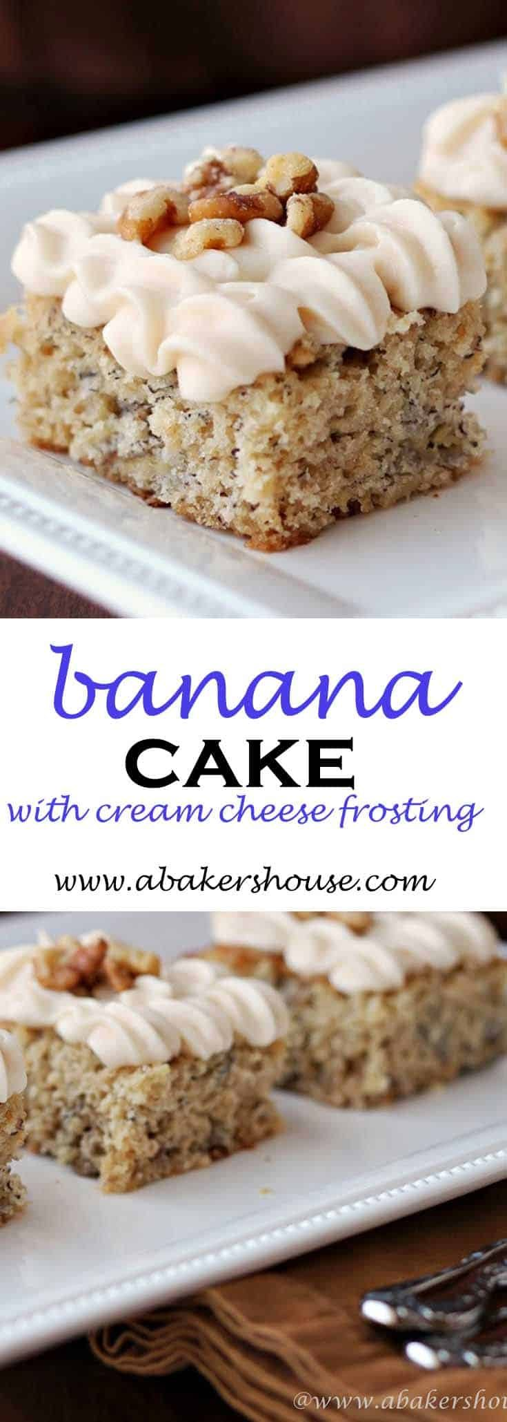 Banana Cake-- a perfect dessert made with roasted bananas and topped with cream cheese frosting. Great for dessert, snack cake, tea time #banana #bananas #bananacake #abakershouse #creamcheesefrosting