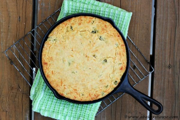 overhead skillet jalapeno cheddar cornbread
