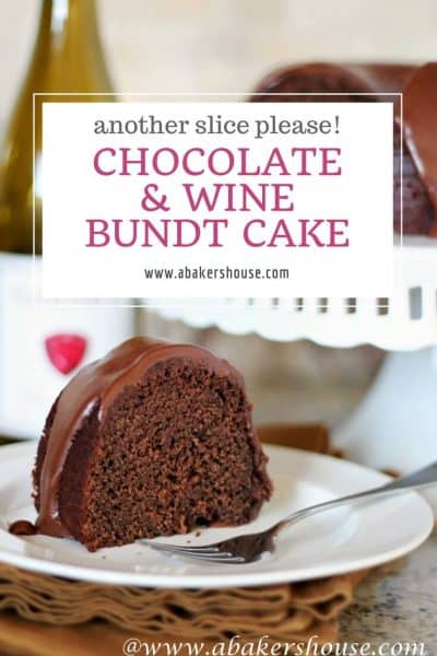 slice of Chocolate Wine Bundt Cake on countertop with text title overlay