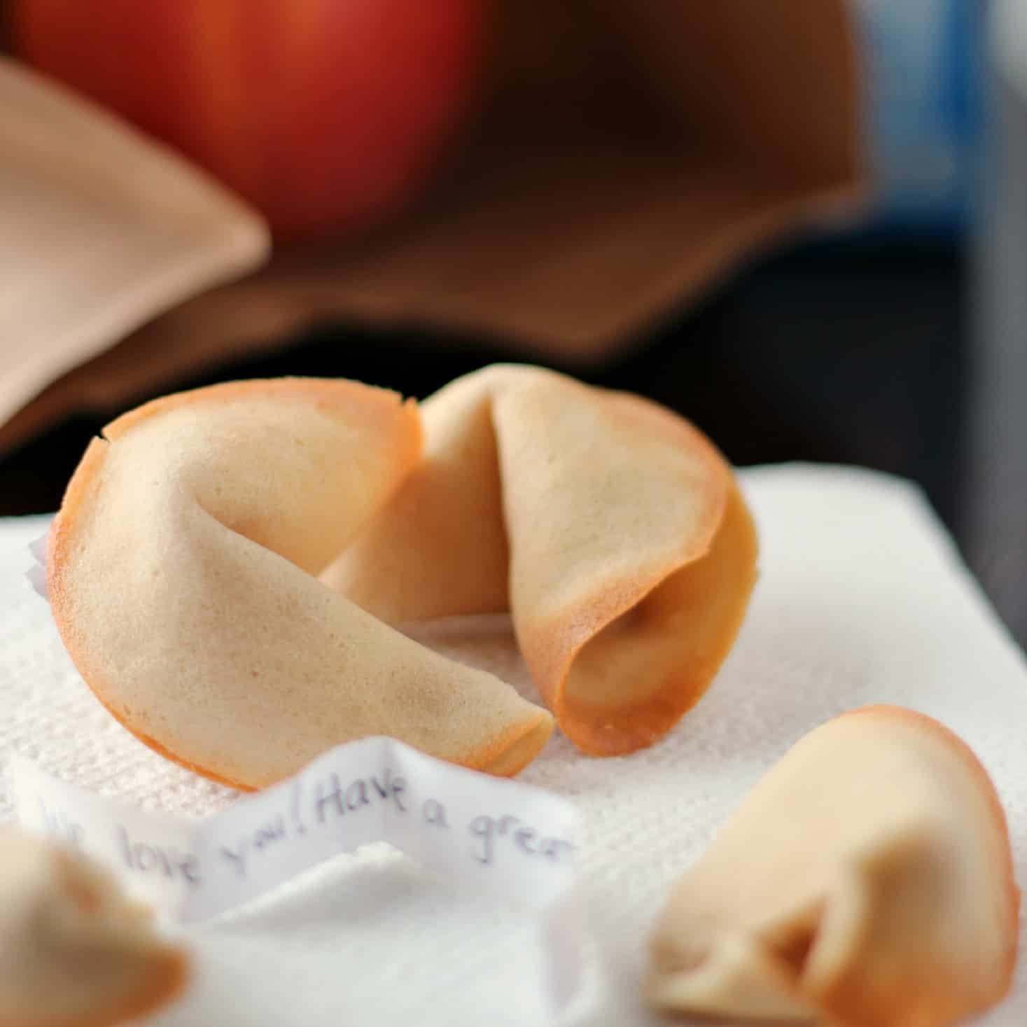 Homemade fortune cookies with personalized messages