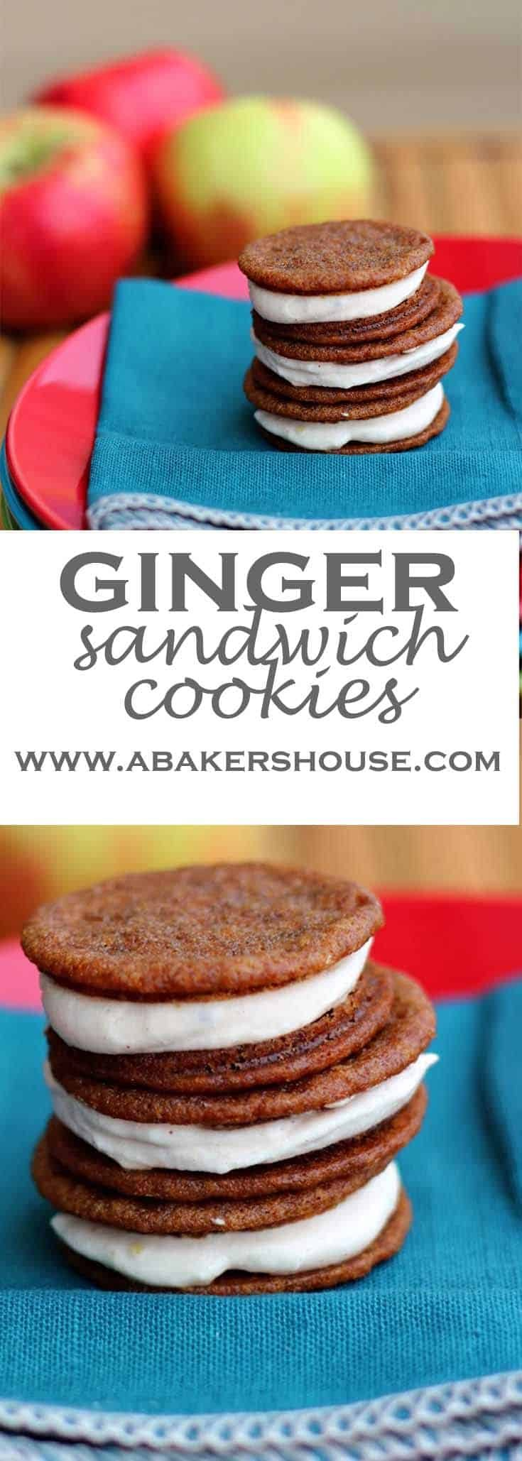Ginger Sandwich Cookies with an apple butter icing filling. #gingercookie #abakershouse #autumn #thanksgiving #applebutter #sandwichcookies