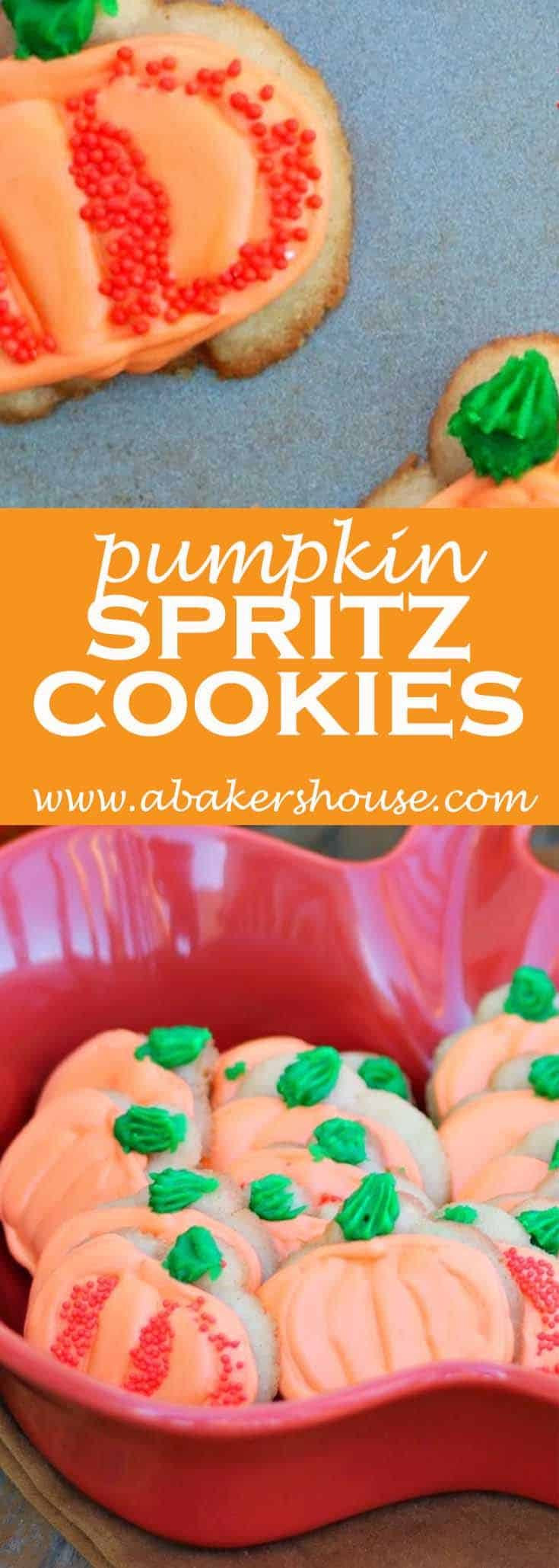 Use your Spritz cookie press to make these Halloween pumpkin cookies decorated with royal icing. #abakershouse #pumpkin #pumpkincookies #halloween #thanksgiving #spritzcookies #cookiepress