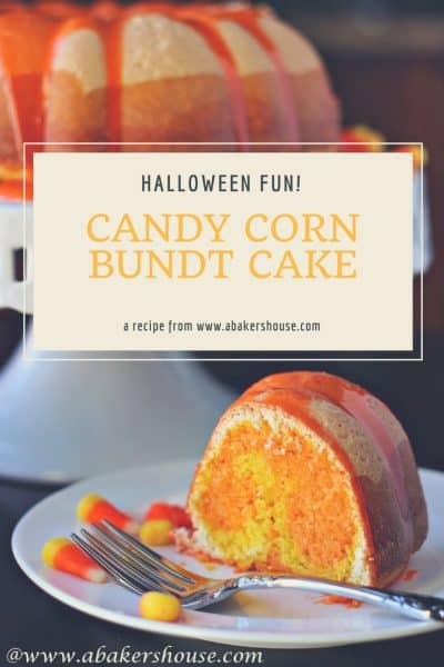Candy Corn Bundt Cake with one slice on a white plate with text title overlay