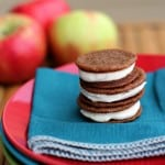 Stack of ginger cookies with apple butter cream filling