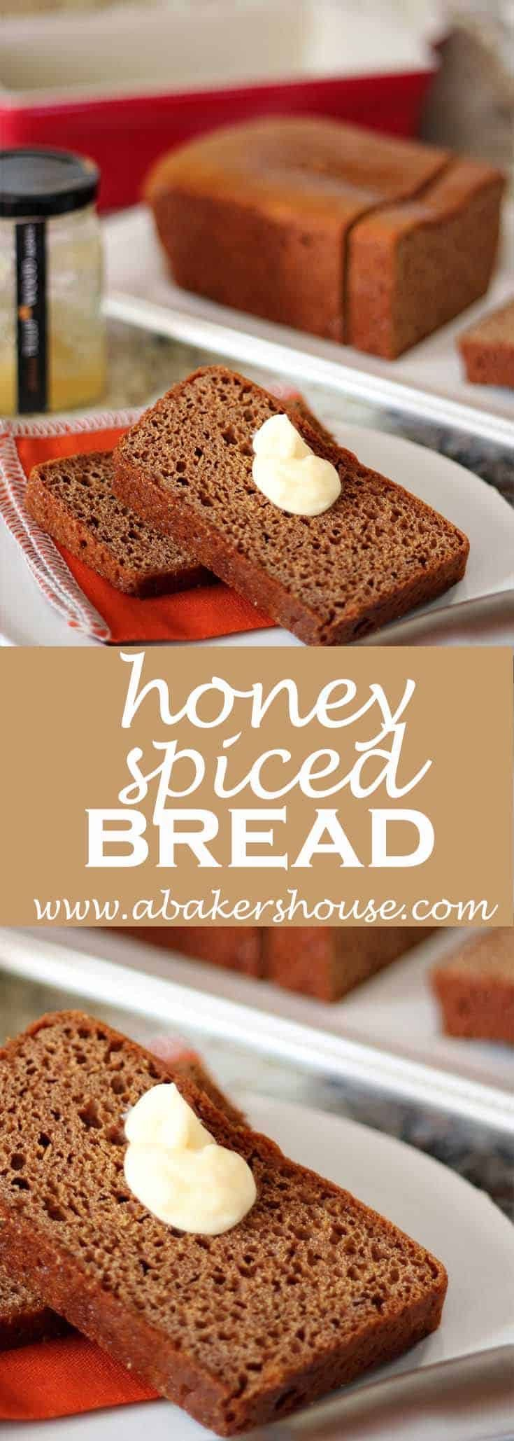 Can you smell my Honey Spice Bread this month? The spices of cinnamon, ginger, pepper, and fennel seed combine with the sweetness of the honey to create a deepness of flavor not often found in a quick bread. Part of the magic must be due to the cooking method of baking at a low temperature for a long time. #abakershouse #honeybread #spices #spicedbread