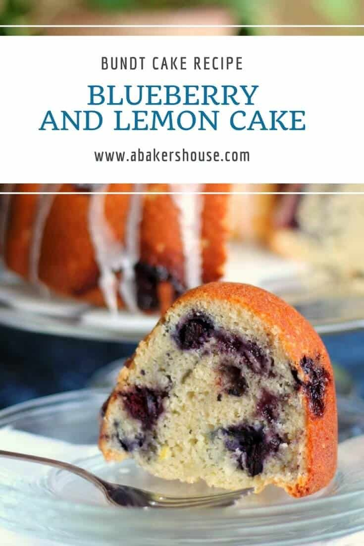 Make a vibrant berry Bundt cake any time of the year using frozen berries and blueberry jam. #bundt #bundtcake #blueberry #lemon #cakerecipe #lemonglaze #abakershouse #frozenberries