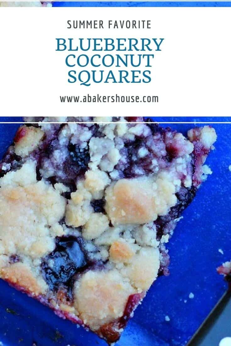 Blueberries-- fresh or frozen--are a stellar ingredient to use year-round. Try these blueberry coconut squares to brighten your day. #freshberries #frozenberries #abakershouse #coconut #easyrecipe