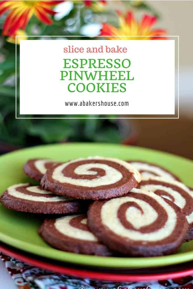 Slice and bake cookies are so easy to make an impressive cookie. One layer of plain dough rolled with a second layer of espresso dough makes these fun espresso pinwheel cookies. #Christmas #CookieExchange #Espresso #abakershouse