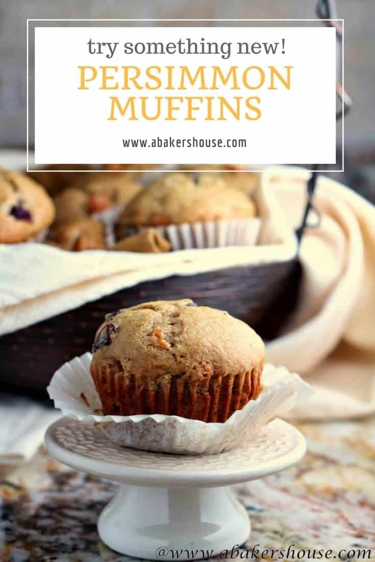 Spiced muffins with persimmons would be the perfect start to your Thanksgiving day. The spices release deep aromas to fill your house with that Thanksgiving feeling and trying a fruit that you might not typically bake with gives yet another reason for thanks. #persimmons #abakershouse #muffinrecipe #Thanksgiving #autumn #fallbaking #winterbaking