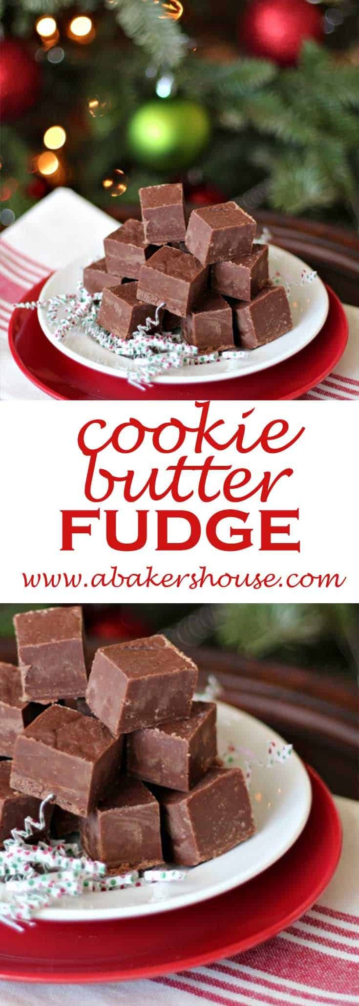 Take a favorite Trader Joe's ingredient of COOKIE BUTTER and make this yummy cookie butter fudge. #homemadegift #Christmas #holiday #abakershouse #fudge #cookiebutter