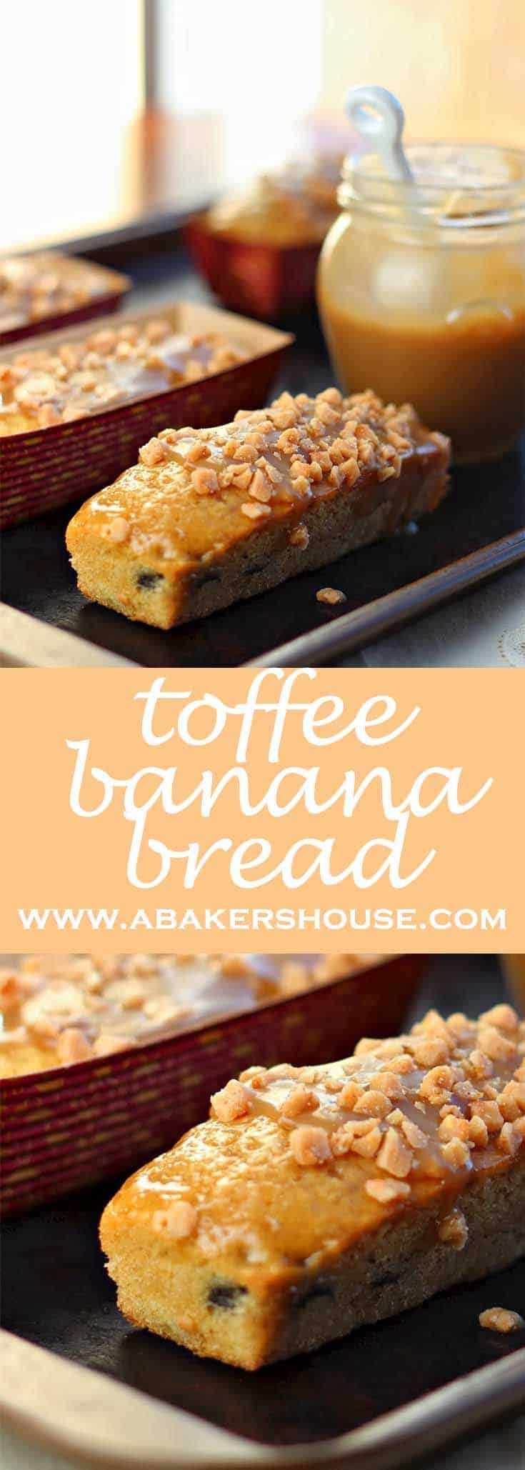 This mini loaf of toffee banana bread is a twist on a British classic. Added toffee bits and a caramel sauce make this a winner for holiday and Christmas gift from the kitchen. #abakershouse #bananabread #toffeesauce