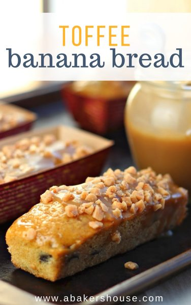 Toffee banana bread with caramel sauce on the side