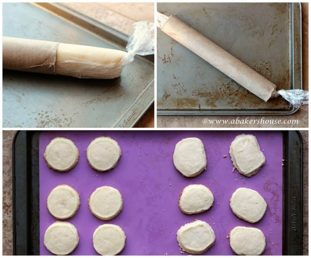 Collage of photos showing how to shape freezer cookies