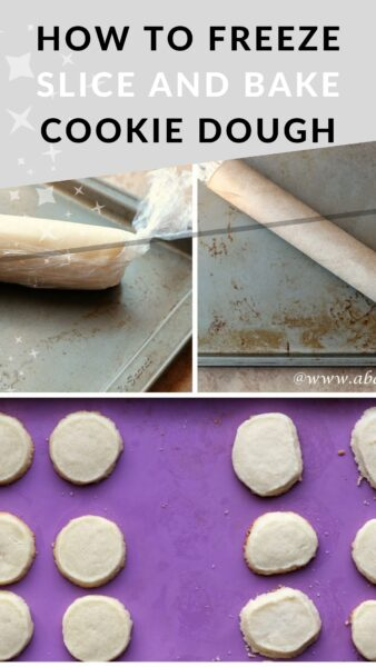 Collage of three photos showing how to make freezer slice and bake cookies
