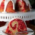 red and white swirled bundt cake