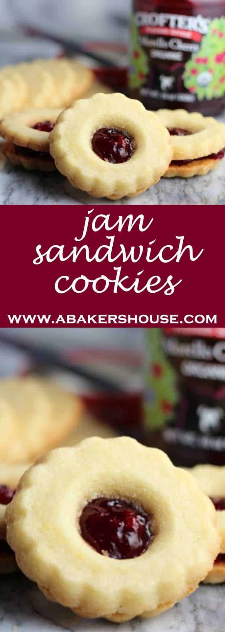 Butter cookies with cherry jam in the middle make these jam sandwich cookies. #abakershouse #teatime #shortbread #sandwichcookies