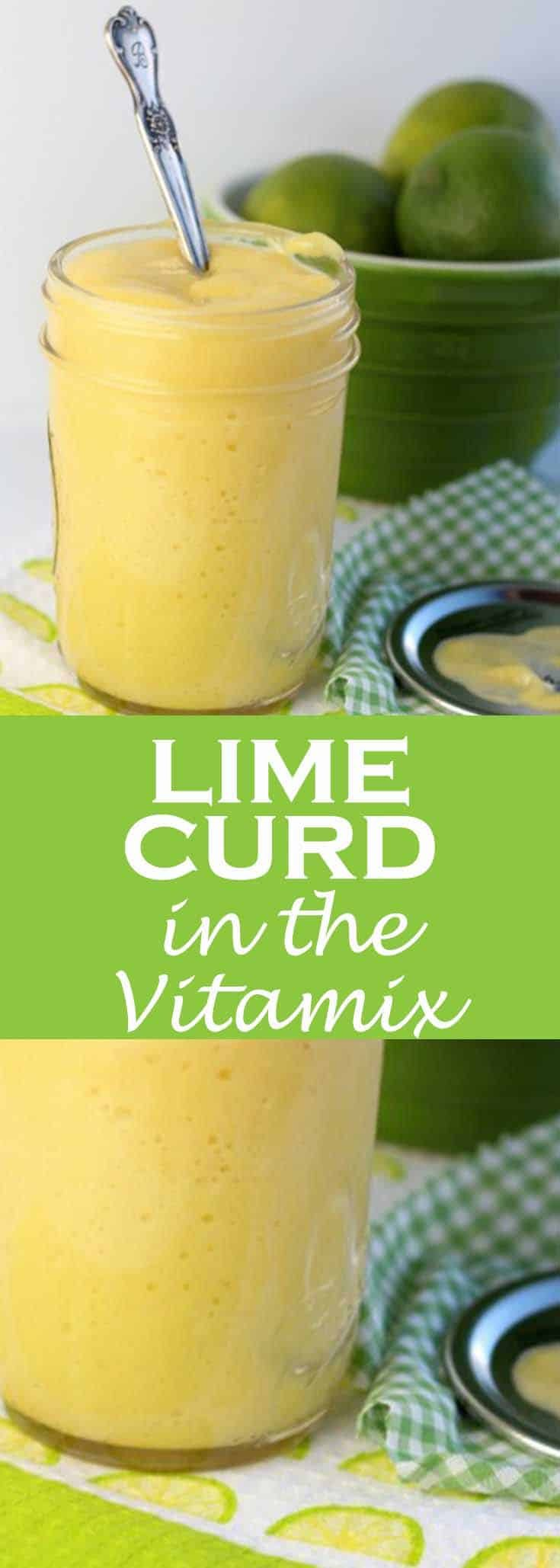 This lime curd in the Vitamix is a bright splash and taste of citrus for a January morning. Make it with your Vitamix or Blendtec for a quick method of creating curds at home. While the traditional method of whisking the egg mixture over a double boiler works well, the blender method is so much faster. Five minutes fast. #limecurd #lime #fruitspread #preserving #abakershouse #limes