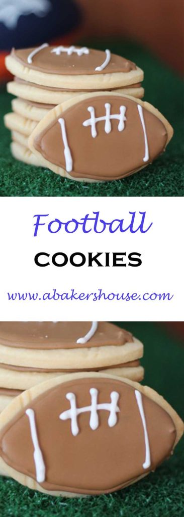 Football cookies with royal icing