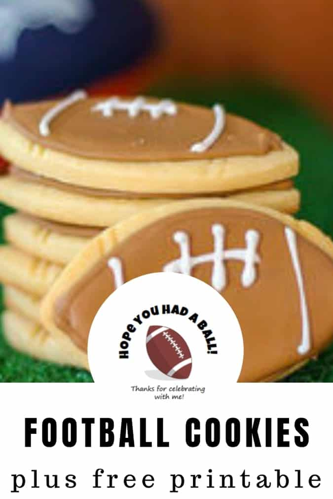 Decorated sugar cookies with royal icing make adorable football cookies for your football celebration. Cheer on your team with these football cookies and make these for your Super Bowl Dessert! #football #cookies #sugarcookies #royalicing #abakershouse #superbowl #superbowldessert