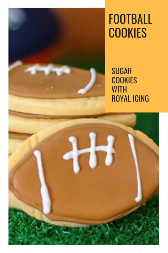 Pinterest photo of upclose sugar cookie decorated with royal icing to look like a football