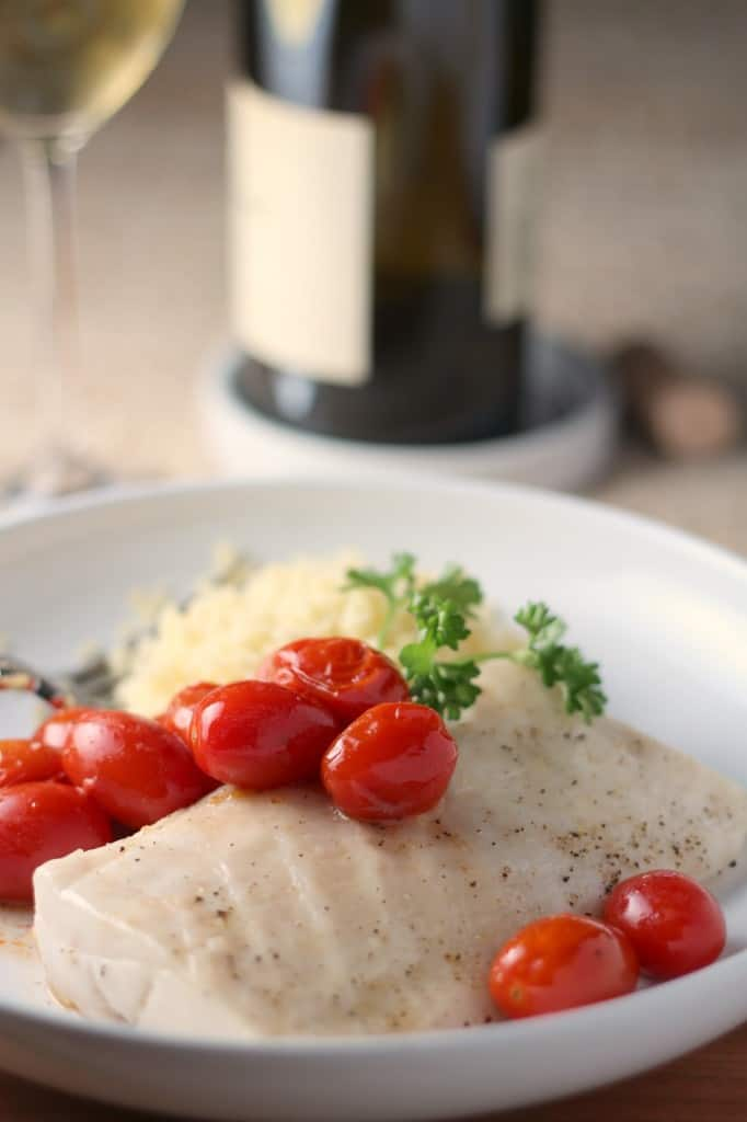 paiche with roasted tomatoes