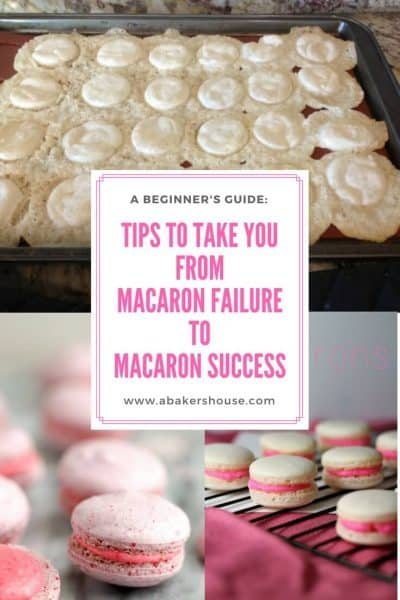 macaron failure to macaron success graphic with sunken macarons on top and perfect macarons on bottom