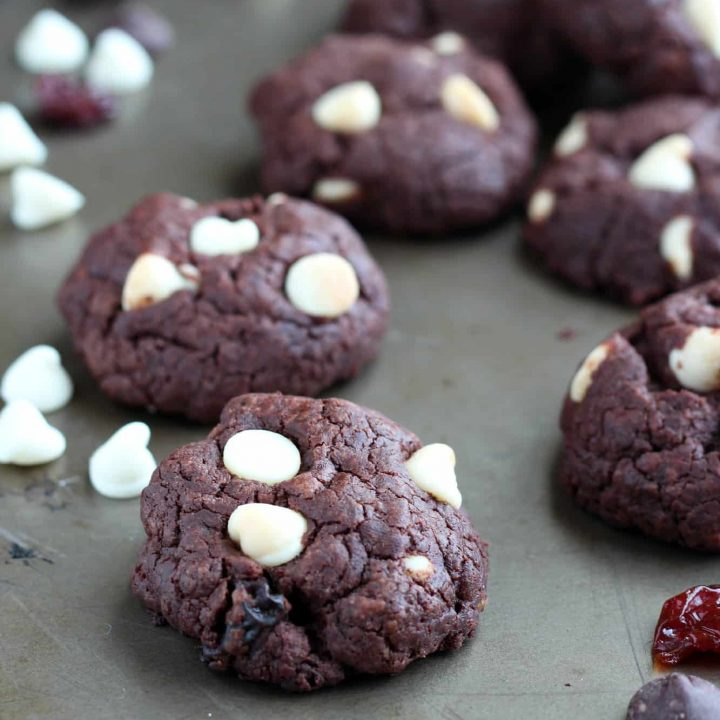 Double Chocolate Chip Cookeis with dried cherries