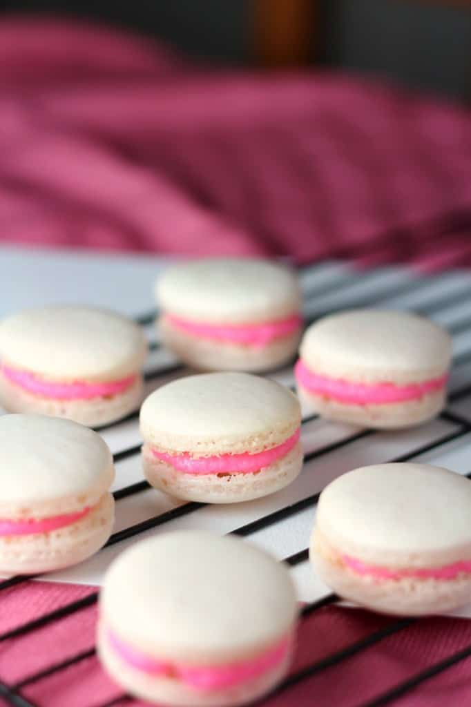 seven macarons filled with bright pink buttercream