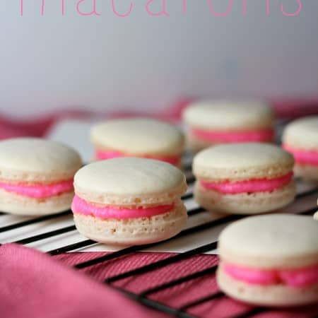 Pink filled icing in macarons with baking tips