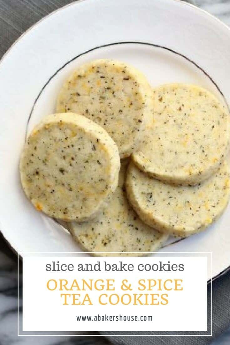 Orange spiced tea cookies are a fun way to bake with tea. These slice and bake cookies are perfect for tea time, wedding showers, baby showers, or Mother's Day. #abakershouse #mothersday #cookierecipe #orange #bakingwithtea #sliceandbake