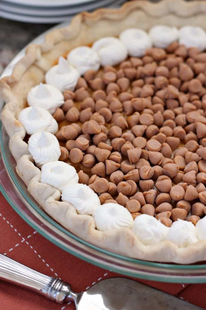 butterscotch pudding pie with fresh whipped cream and plenty of butterscotch chips